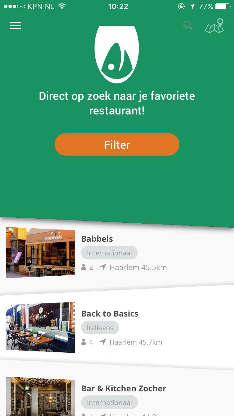 De app van RestaurantKaart