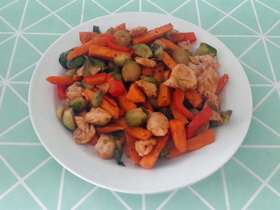 Gegrilde groente met kip