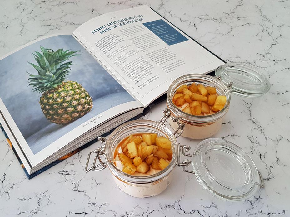 Karamel cheesecake met ananas