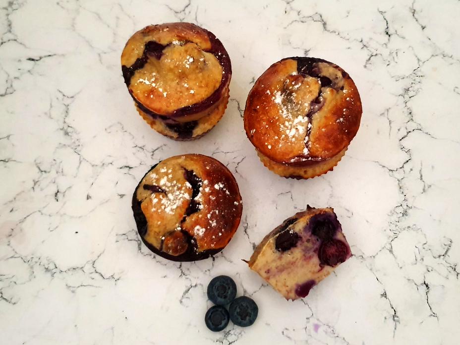protein muffins met bosbessen